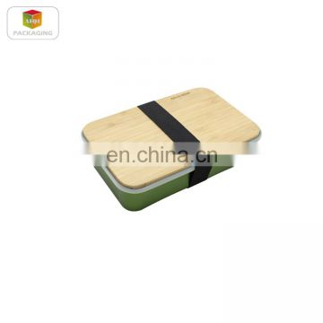 Aluminum sandwich lunch box with bamboo lid/food box