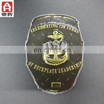 Top sale antique gold gold plating blank custom sheriff badge