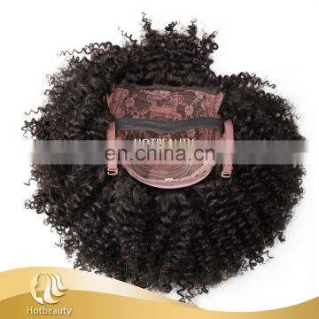 Hot Beauty yaki kinky curly high density pre sew lace wig