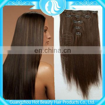 double weft clip in layer hair extension,100% human hair extensions brazilian clip in hair