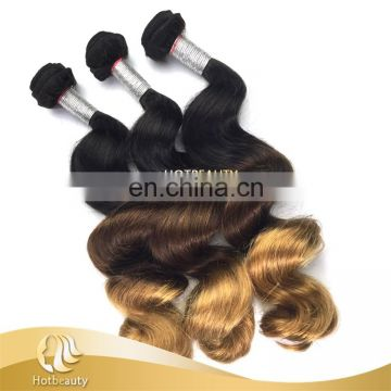 China Factory Cheap Peruvian Loose Wave Hair 3 tone color ombre hair 1b# & 4# & 27# tangle free crochet braids with human hair