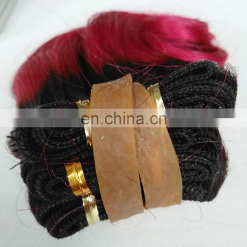 Best Sellers Short Brazilian Two Tone Ombre Blue Green Red Purple Hair Body Wave Hair Weave