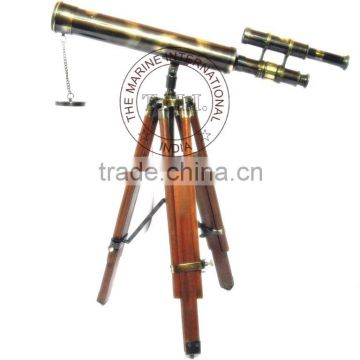 "18"" ANTIQUE DOUBLE BARREL TELESCOPE WITH WOODEN TRIPOD STAND - ANTIQUE BRASS TELESCOPE WITH STAND"