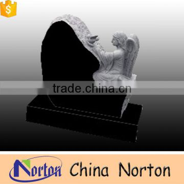 Natural granite seated angel funeral tombstone for American market NTGT-035L