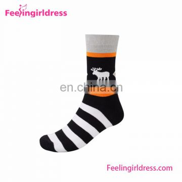 5 Pairs 1 Box Christmas Deer Stripe Men Socks Wholesale Custom Socks
