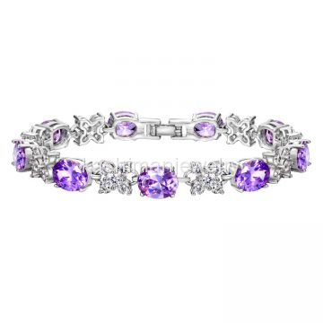 Guangzhou Kashiman jewelry Purple crystal platinum bracelet manufacturer direct copper - plated rhodium