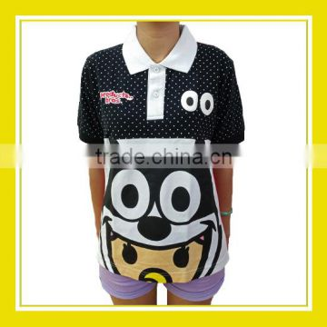 2016 Top Products Bros Baby Rinne Felix the Cat Women Printed Short Sleeve Black Pink Dotted Polo Tee Shirt