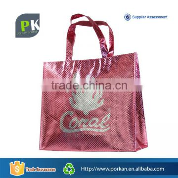 2015 Silver Color Printed Non Woven Pink Bag