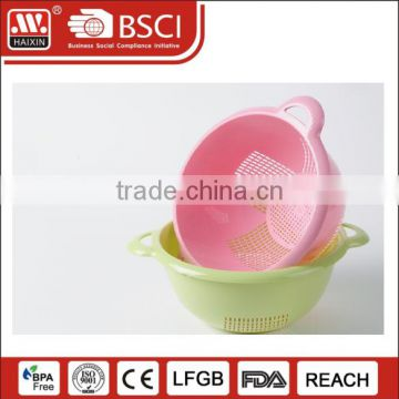 Colored kitchen basket vegetables pasta drainer sink colander dish drying rack plastic colander with handle
