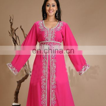 New Moroccan Kaftan Dress Abaya Islamic Arabian dress in pink color for women
