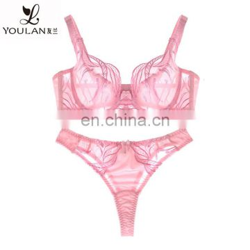 New Design Hot Fashion High Quality Women Lace Transparent Sexy Bra Penty