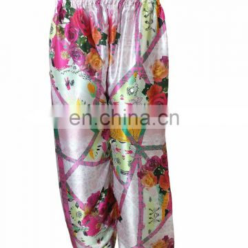 Japan Satin Silk Rose Printed Palazzo Pants / Ladies Casual Party Wear Trousers 2017 (beach wear palazzo trousers pant)