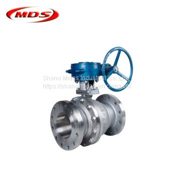 2 piece duplex carbon steel api worm gear flanged floating ball valve dn50 pn16