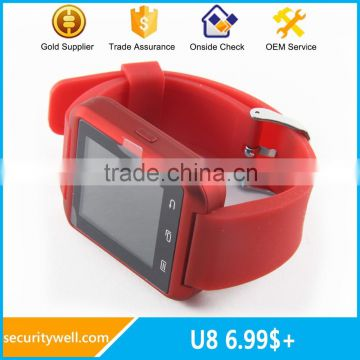 Colorful U8 watch of pink blue green red white black color