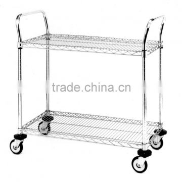 Hospital and hotel 2-tier durable stainless steel utility cart