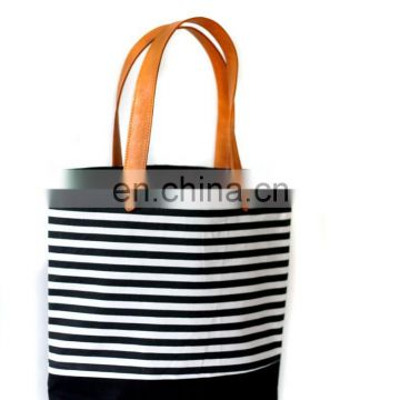 canvas and leather bag summer tote bag cotton canvas tote bag