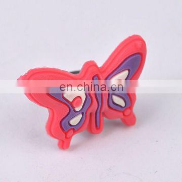 soft PVC shoelace charm with butterfly