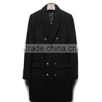 2014 Double-Breasted Metal Button High Fashion Classical Design Black Lapel Slim Fit Mens Cashmere Men Coat