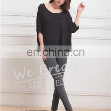Black Bamboo Summer Breathable T-shirt Blouse Home Wear Girls