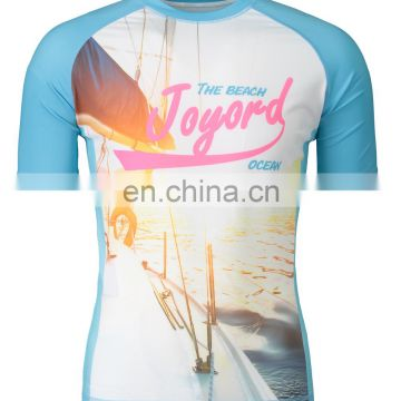Custom wholesale sublimation printed design your own rash guard