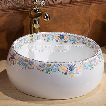 Sanitaryware bathroom tabletop draw by hand blue color round shape fancy wash hand basin sink