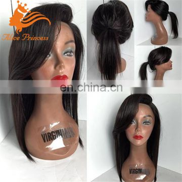 silky straight black ponytail wig cheap Indian remy human full lace wig high end wigs