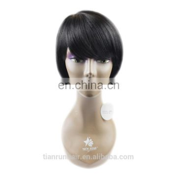 customized hot selling cheap natural black no tangle indian remy human hair short bob style lace front wigs with bangs