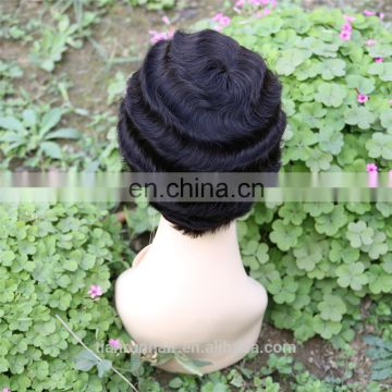 xuchang hair factory hot sale aliexpress hair product natural short deep curl wave uk aunty remy human hair wig for women