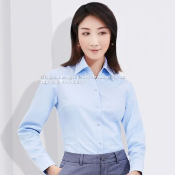 Women's shirt spring and summer 100S double-stranded cotton liquid ammonia non-iron professional wear tooling long-sleeved shirt customization