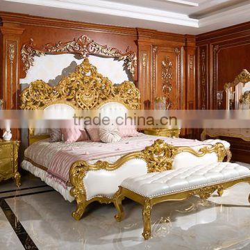 Royal Place Gold Leaf Finished Full Solid Wood Carving Bed, Arabic Golden  Style Bedroom Furniture ...