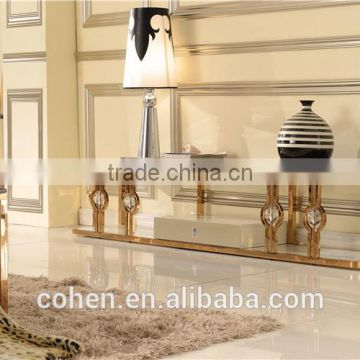 Factory price stainless steel high gloss tv stand marble top for living room furniture E818G