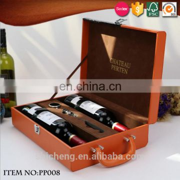 Custom High-class PU Leather Wine Bottle Packaging Gift Box with Handle