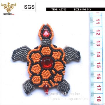 Fashion beaded golded coin turtle, beautiful  Beaded patches for bags,shoes, apparels,high quality handmade