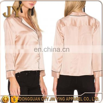 5e84acac0be Pink Silk Satin Blouse For Women Smart Casual Wear Pajamas Style Long  Sleeve T-Shirt