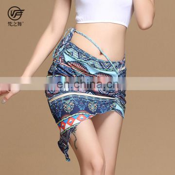 Q-6062 Sexy elegant Milk silk flower printing adult belly dance skirt