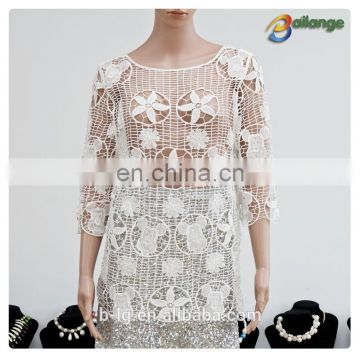2016 Bailange blouses & tops product type new fashion hollow out lace blouse ladies white vests
