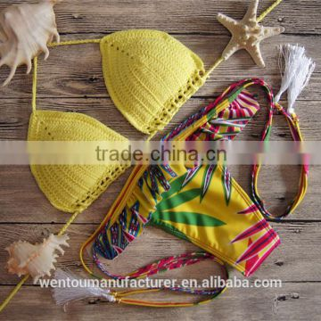 2016 Women Summer Bikini Sexy Crochet Bikini Swimwear Knitted Swimsuit                                                                         Quality Choice