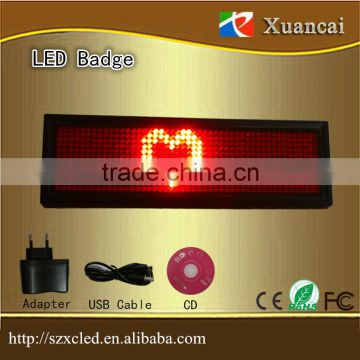 Multi function red color scrolling name led badge control by