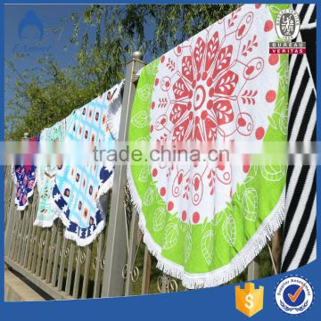 Hot selling high quality 150cm extra large custom printed pattern round beach towels with tassels