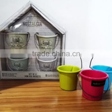 Pastel Colored Set of 4 Eggs Cups Small Mini Bucket Metal Tin Egg Holder