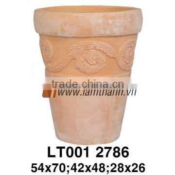 Vietnam Round Classic White Wash Terracotta Planter