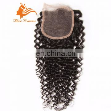 Top 8A Grade Virgin Brazilian Hair Kinky Curly Lace Closure Glueless Free Part Natural Hairline Human Hair Closure