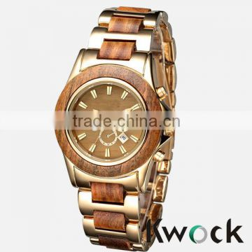 Hot New European and American Style Vogue Metal and Wooden Ladies Watches Women Dress Watch