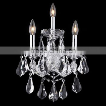 Chrome finish clear crystal 3 light wall fixture light