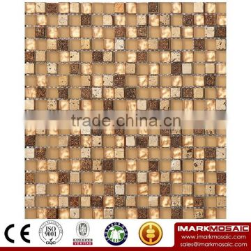 IMARK Mixed Green Color Crystal and White Color Marble Mosaic Tiles for Wall Decoration Code IXGM8-052