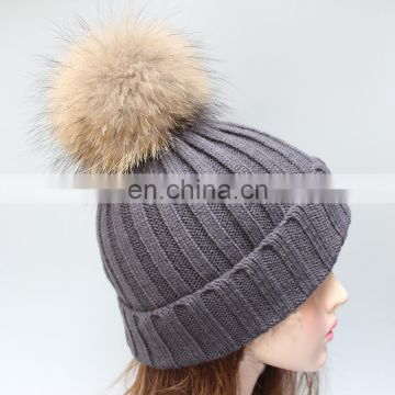 Dark grey winter fur pom warmer genuine raccoon fur pompon women hats