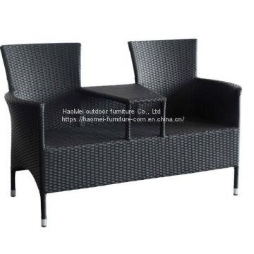 2 Seater Poly Rattan Outside Leisure Fancy Sofa Furniture Set Drink