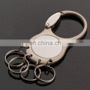 novelty metal multi ring keychain with printed custom logo