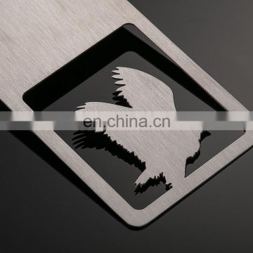 wholesale customized stain-finished rectangle shape eagle logo low price promotinal gifts bookmark