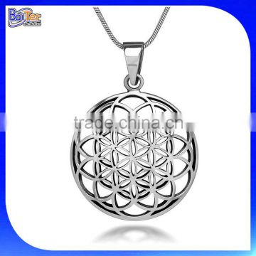Custom 27Mm Round Circle Charm Pendant Necklace Pendant 925 Sterling Silver Flower Of Life Pendant Wholesale                                                                         Quality Choice